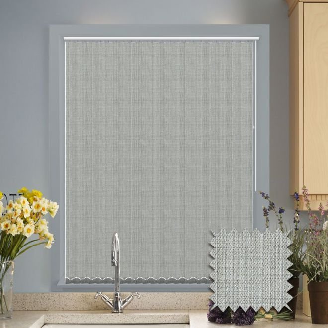 Made to Measure Vertical Blinds in Oslo Silver fabric Premium Colour Light Grey - Just Blinds